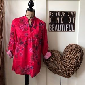 Beautiful red muted floral rolled sleeve blouse